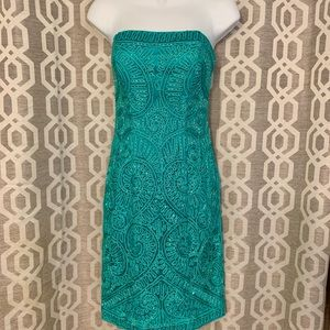 Sue Wong Nocturne turquoise beaded strapless dress